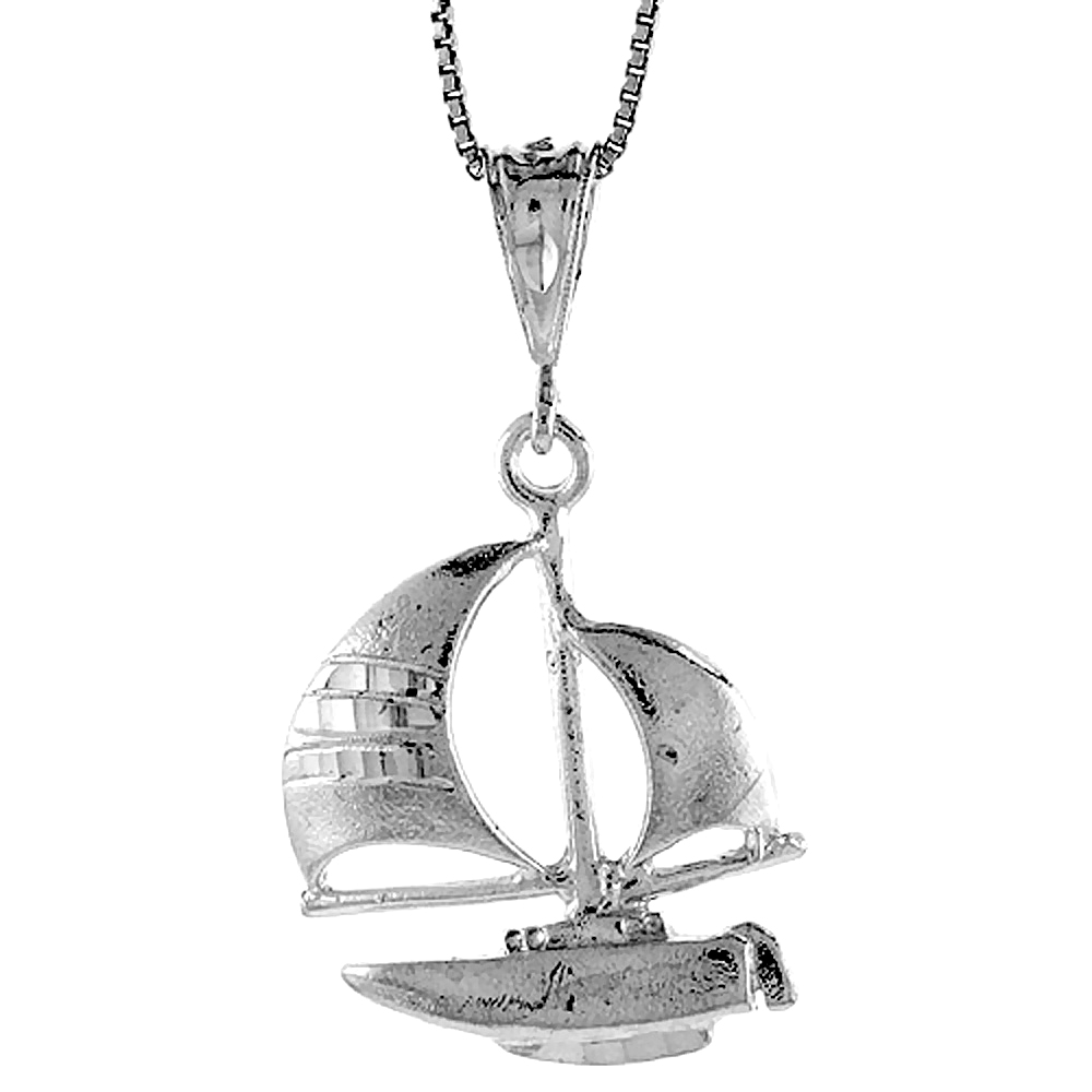 Sterling Silver Sailboat Pendant, 1 1/16 inch