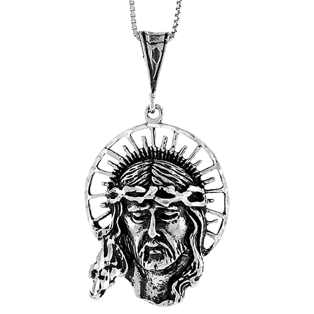 Sterling Silver Christ with Crown of Thorns Pendant, 1 1/2 inch