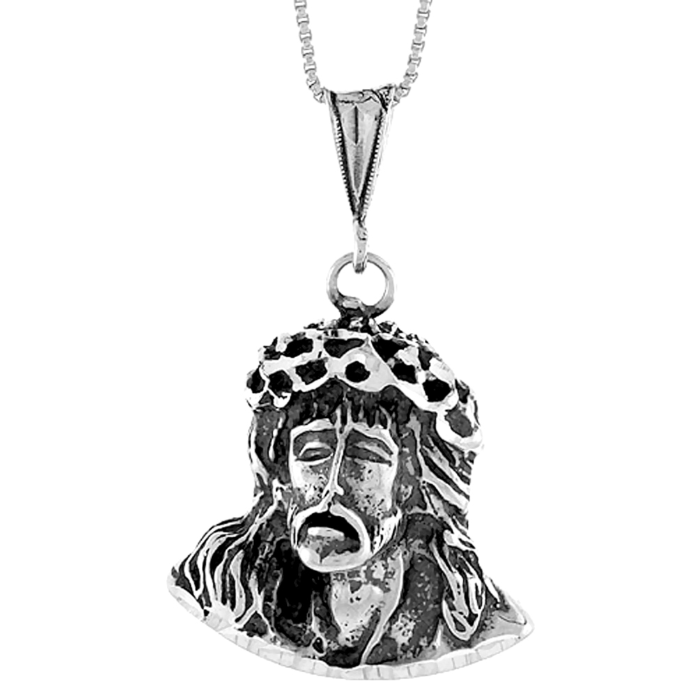 Sterling Silver Christ with Crown of Thorns Pendant, 1 1/4 inch