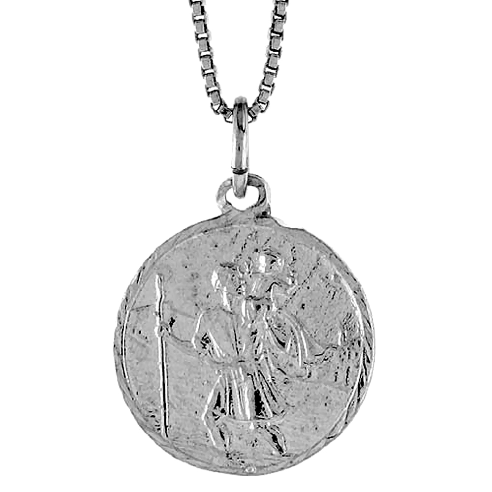Sterling Silver St Christopher Medal , 3/4 inch