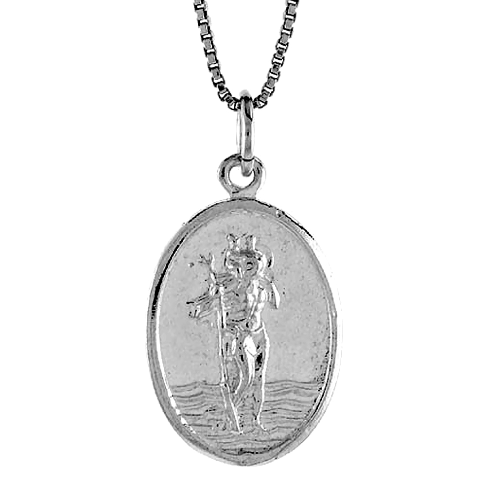 Sterling Silver St Christopher Medal , 7/8 inch