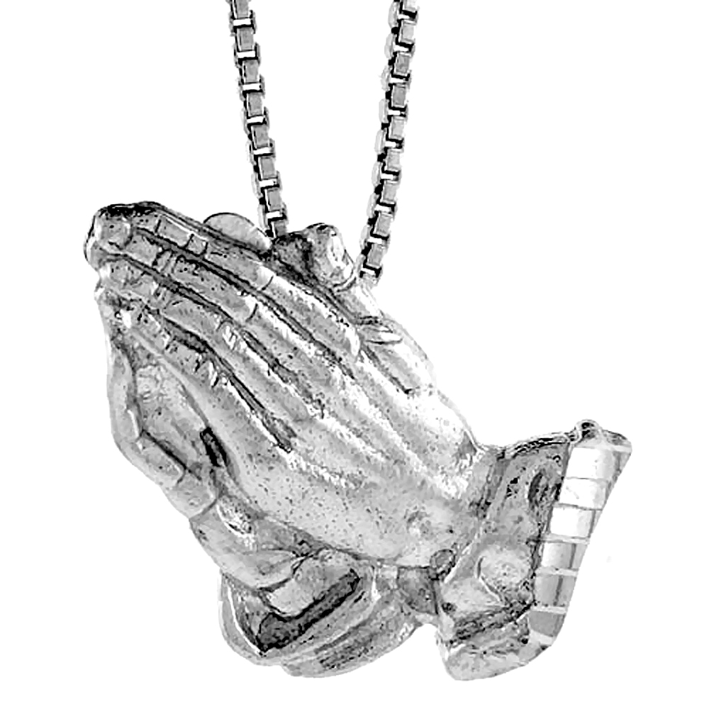 Sterling Silver Praying Hand Pendant, 1 inch