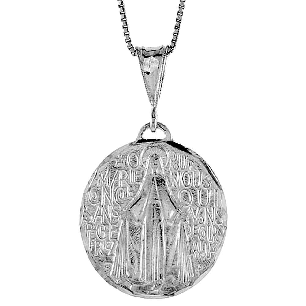Sterling Silver Virgin Mary Miraculous Medal Pendant Round, 1 1/8 inch