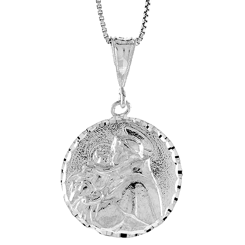 Sterling Silver St Joseph Medal, 1 inch