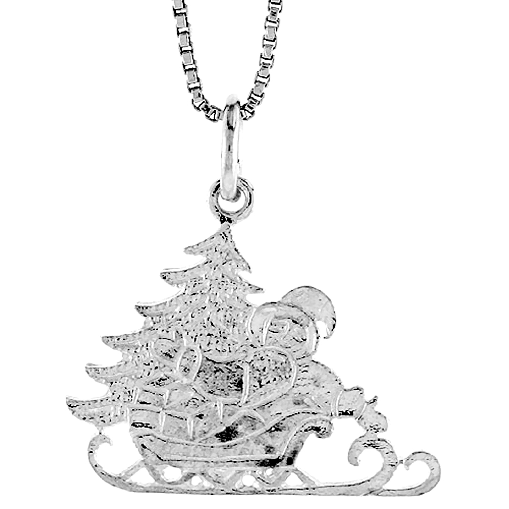 Sterling Silver Santa's Sleigh Pendant, 5/8 inch
