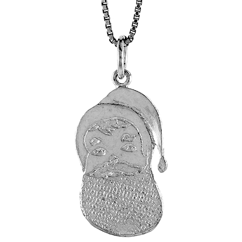 Sterling Silver Santa Claus Pendant, 7/8 inch