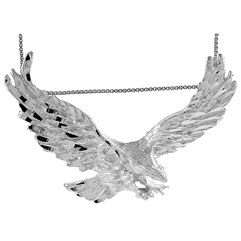 Sterling Silver Large Eagle Pendant, 2 1/2 inch wide