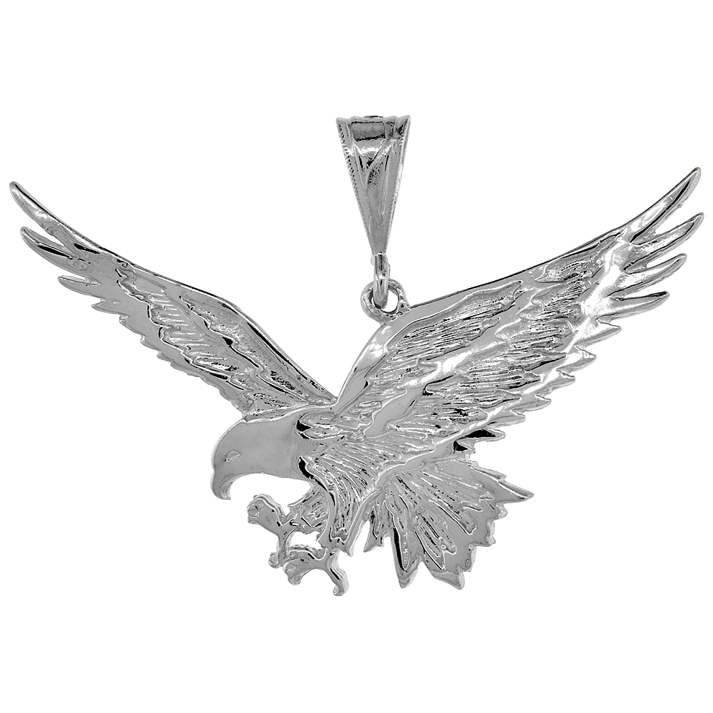 Sterling Silver Large Eagle Pendant, 2 3/16 inch wide