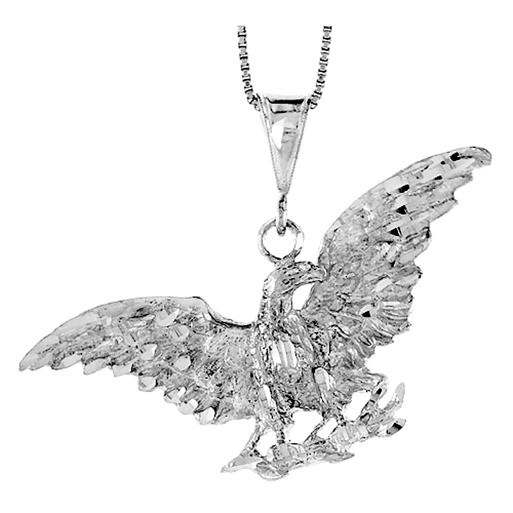 Sterling Silver Eagle Pendant, 2 3/16 x 3/4 inch