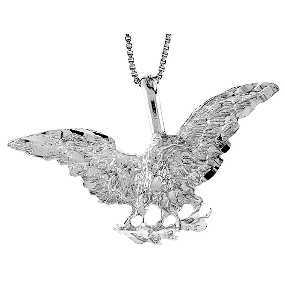 Sterling Silver Eagle Pendant, 1 3/4 x 5/8 inch