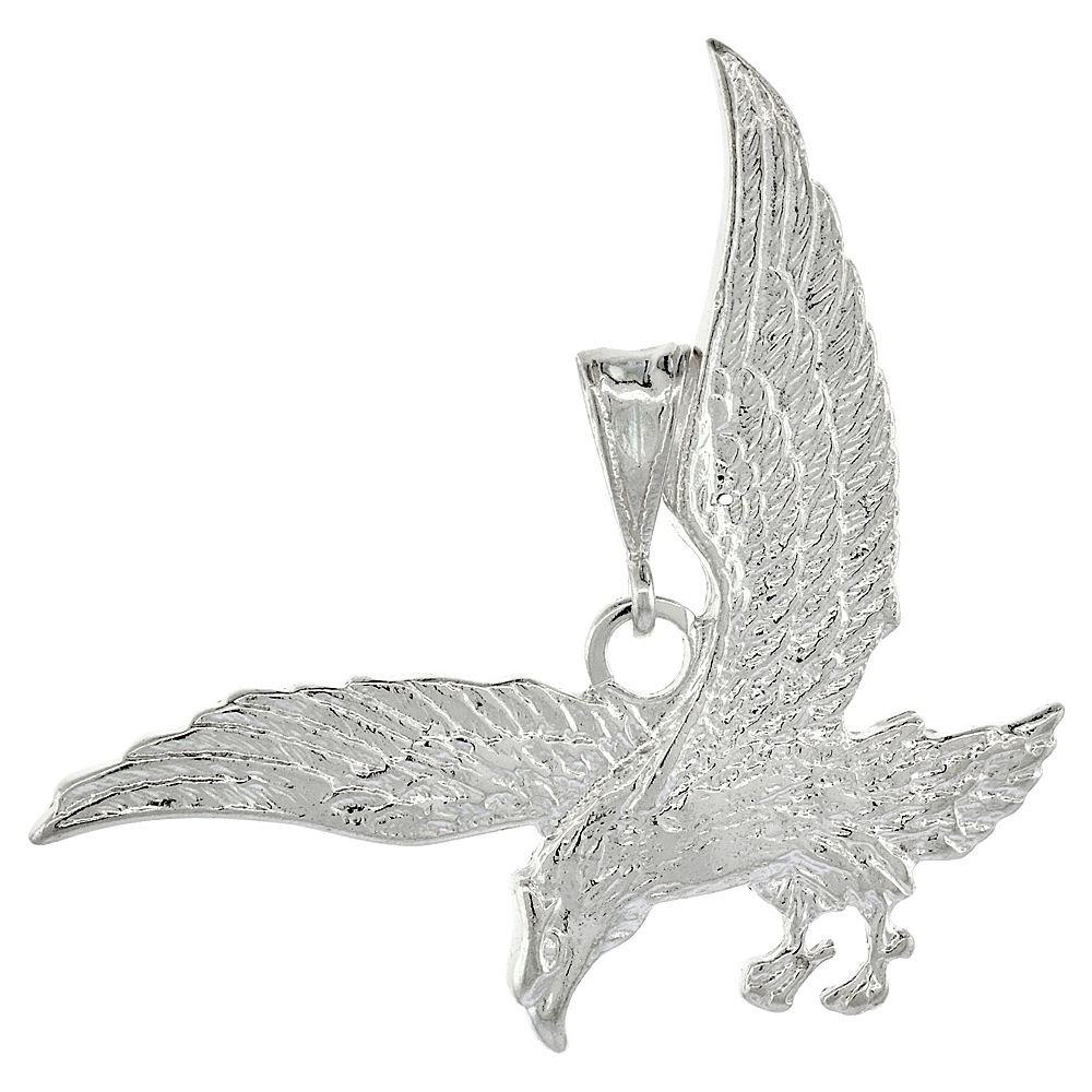 Sterling Silver Eagle Pendant, 1 7/8 x 7/8 inch