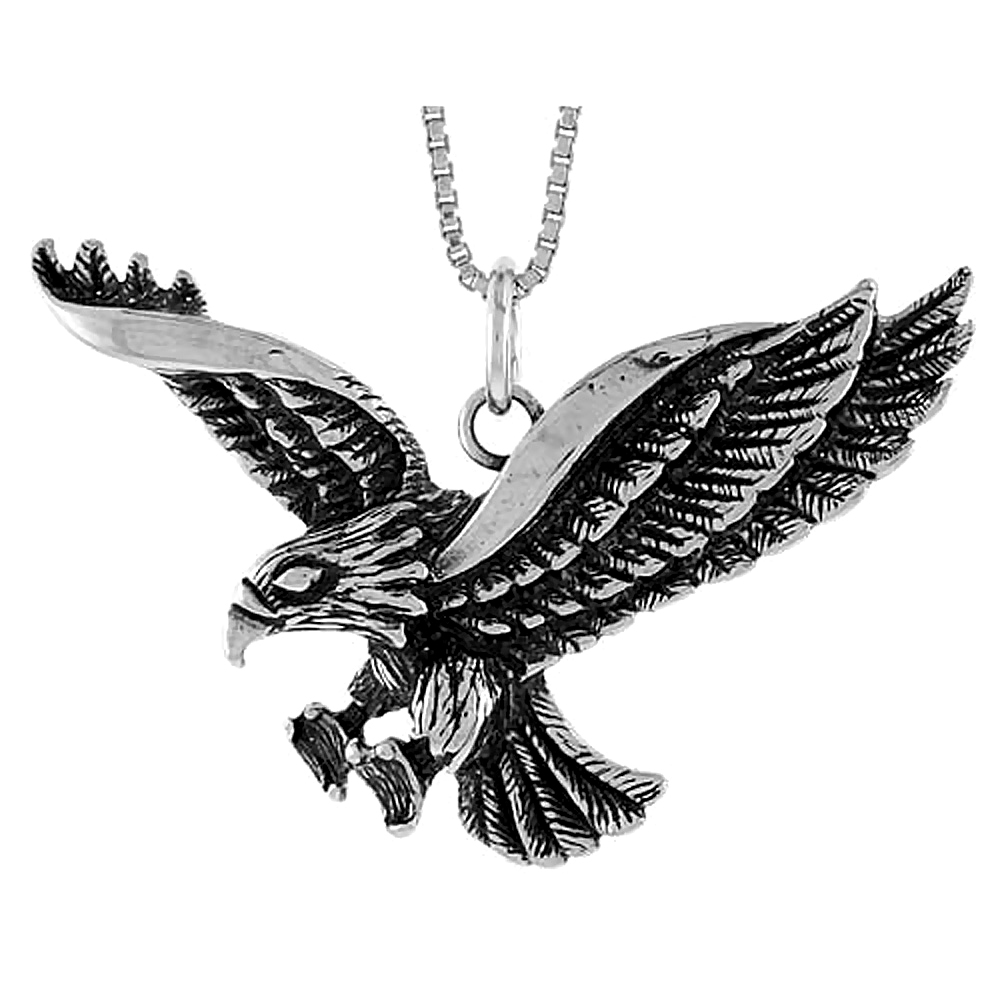 Sterling Silver Eagle Pendant, 1 1/2 x 3/4 inch
