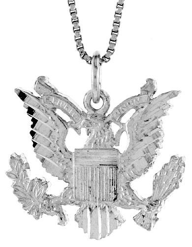 Sterling Silver American Eagle Pendant, 3/4 x 1 inch