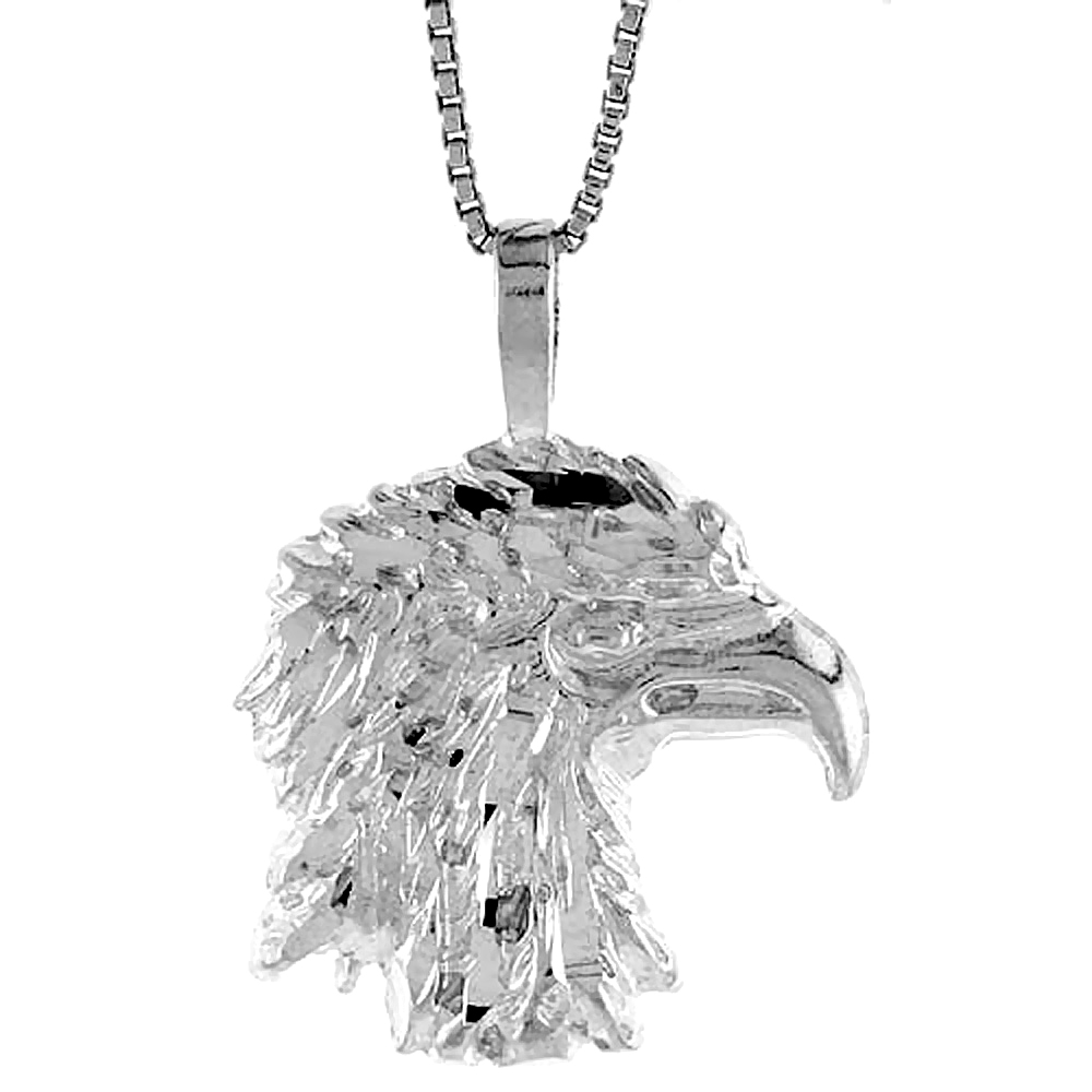 Sterling Silver Eagle Head Pendant, 3/4 inch