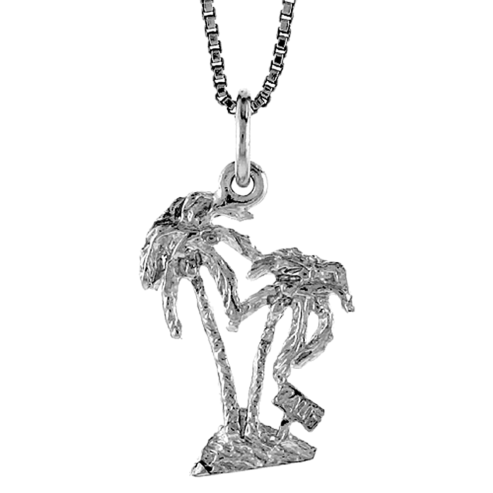 Sterling Silver Palm Tree Pendant, 3/4 inch Tall