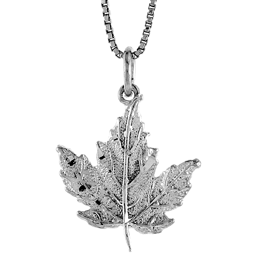 Sterling Silver Maple Leaf Pendant, 3/4 inch Tall