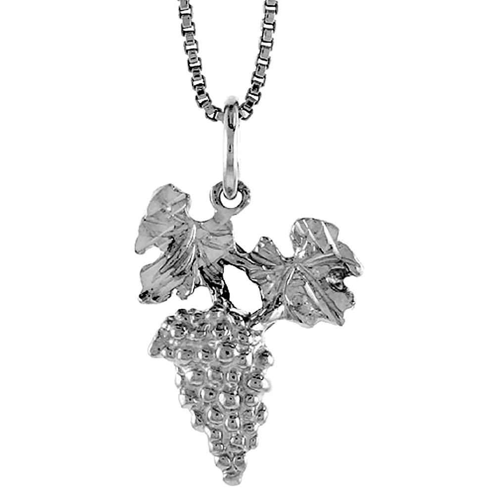 Sterling Silver Grapes Pendant, 3/4 inch Tall