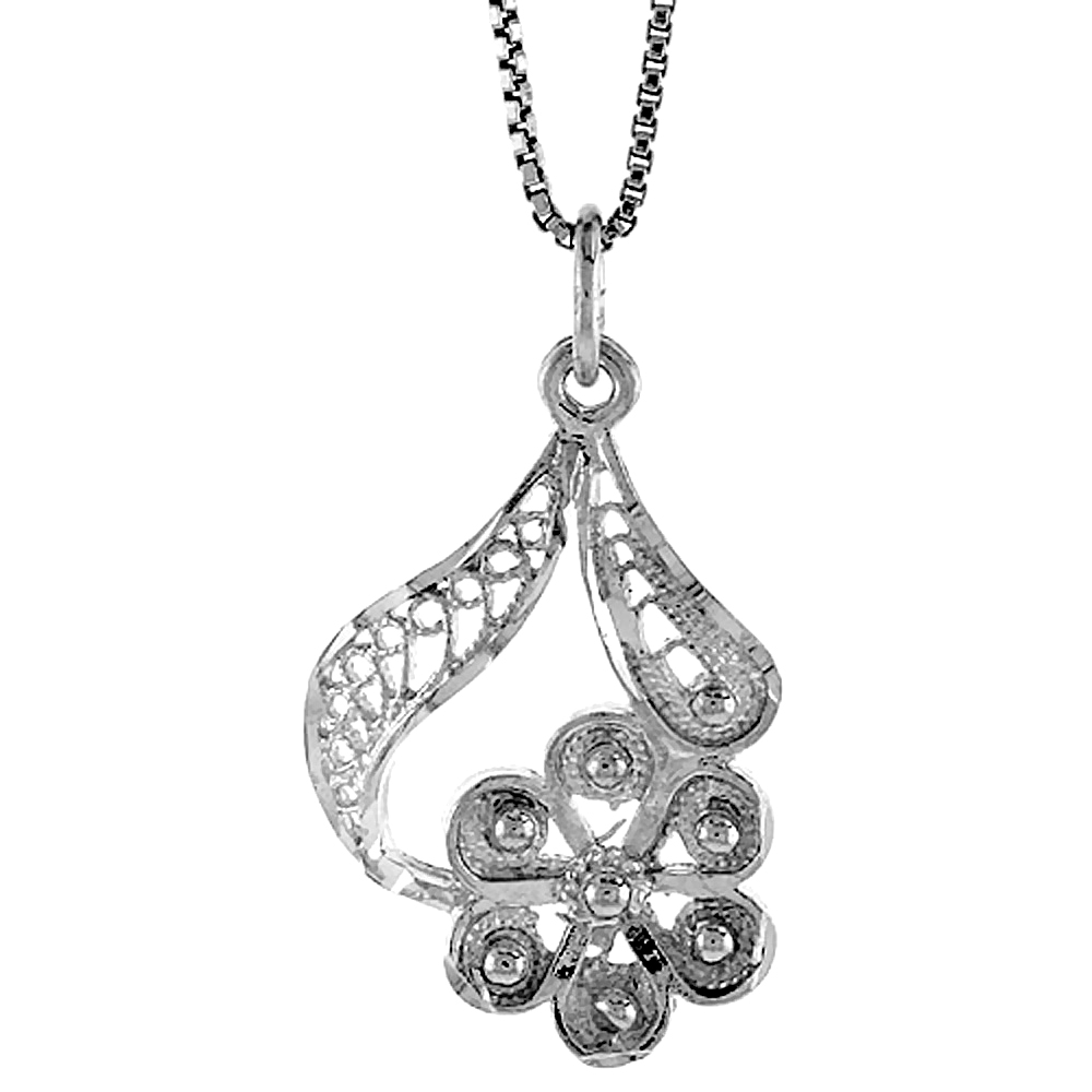 Sterling Silver Floral Filigree Pendant, 1 inch Tall