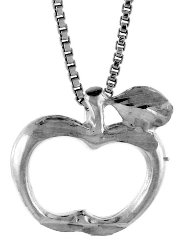 Sterling Silver Apple Cut-out Pendant, , 1/2 inch tall