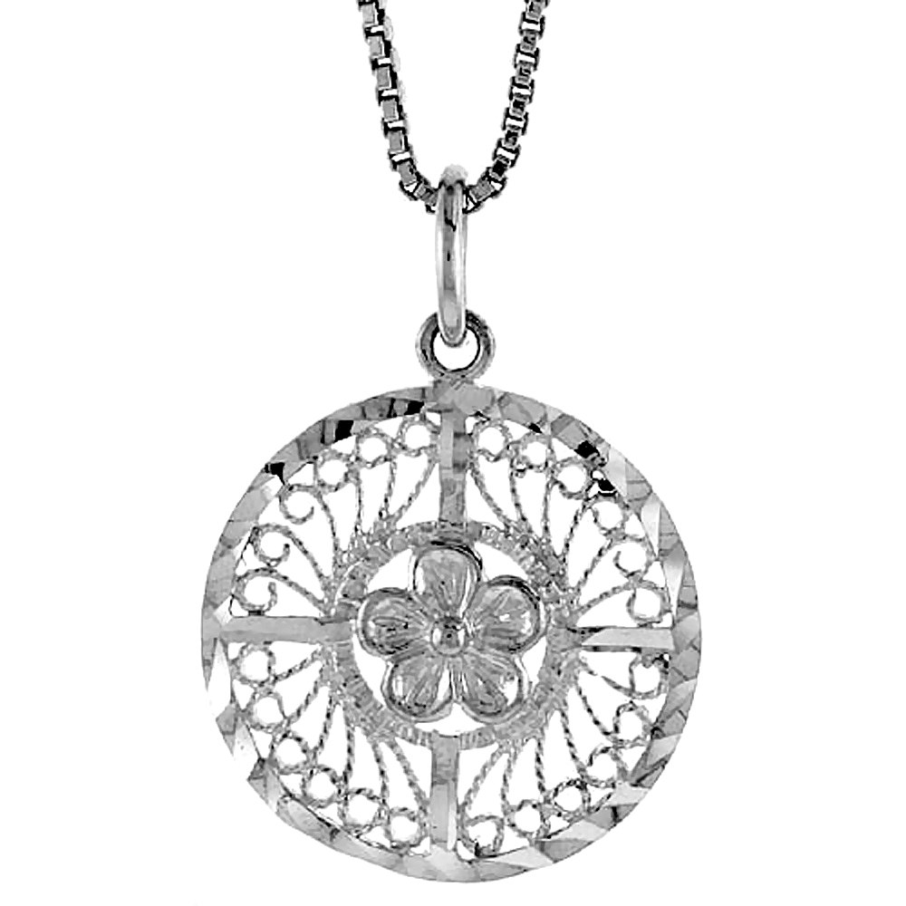 Sterling Silver Round Filigree Pendant, 3/4 inch Tall
