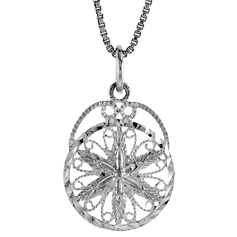Sterling Silver Round Floral Filigree Pendant, 3/4 inch tall
