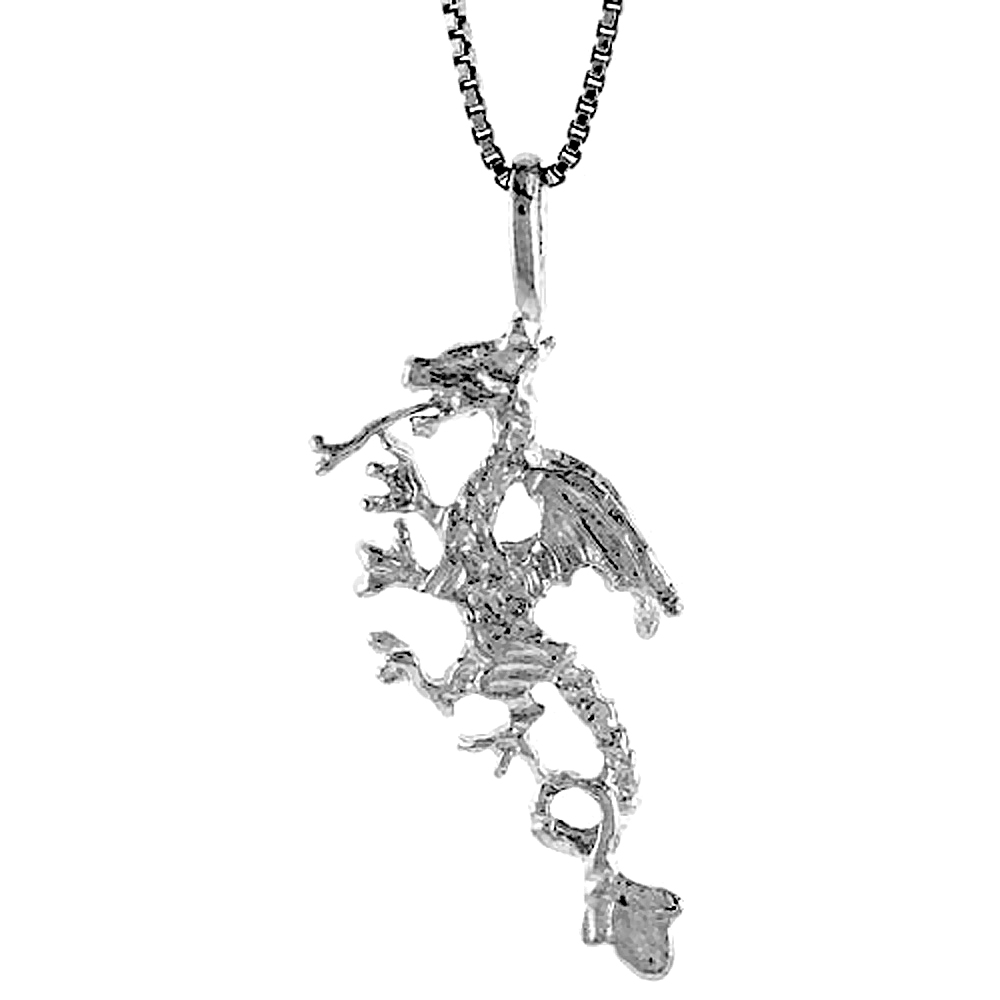 Sterling Silver Dragon Pendant, 1 1/4 inch Tall