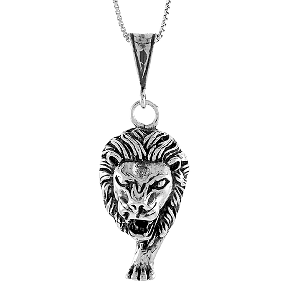 Sterling Silver Large Lion Head Pendant, 1 1/4 inch Tall