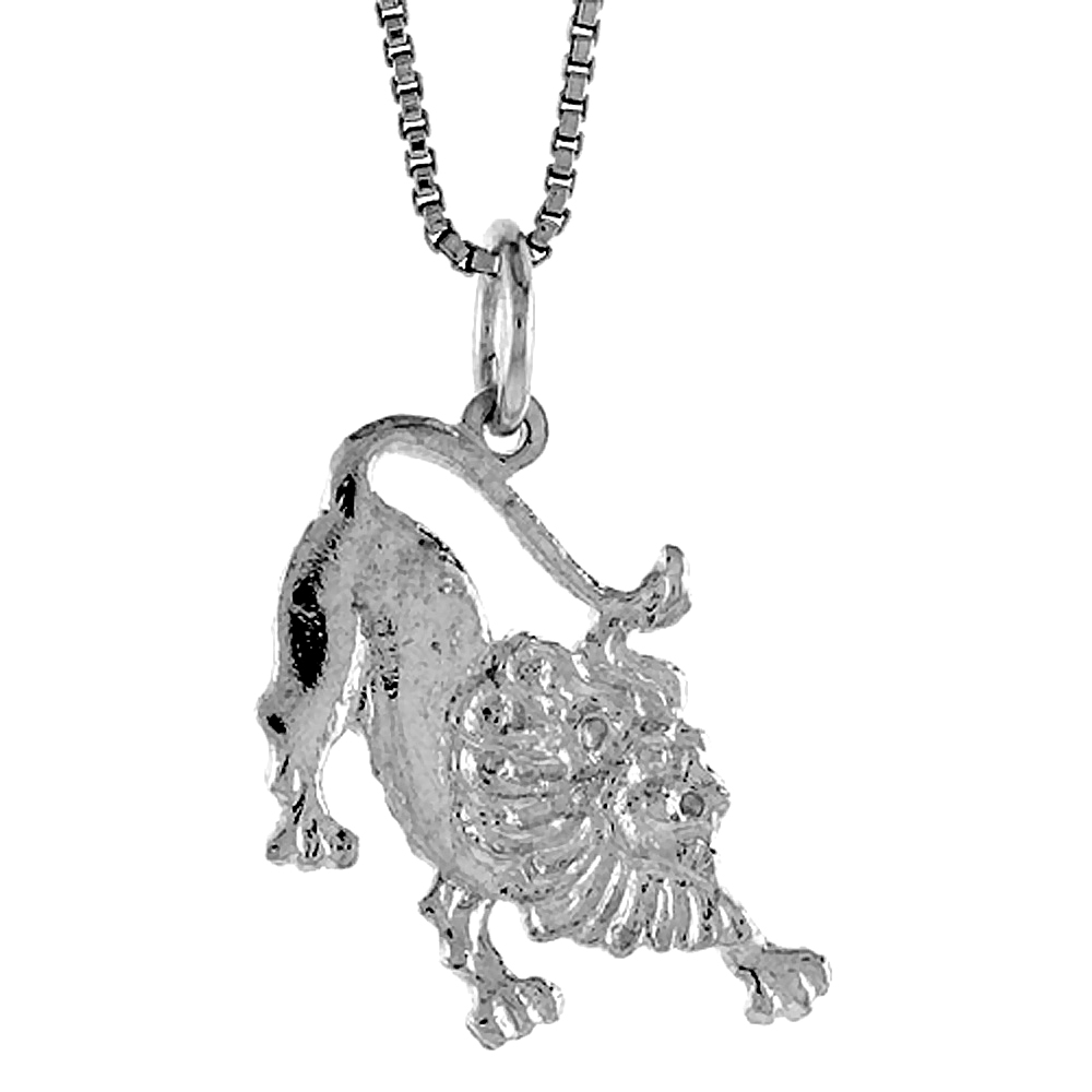 Sterling Silver Lion Pendant, 3/4 inch Tall