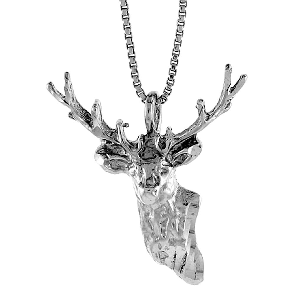 Sterling Silver Deer Head Pendant, 1 1/8 inch Tall