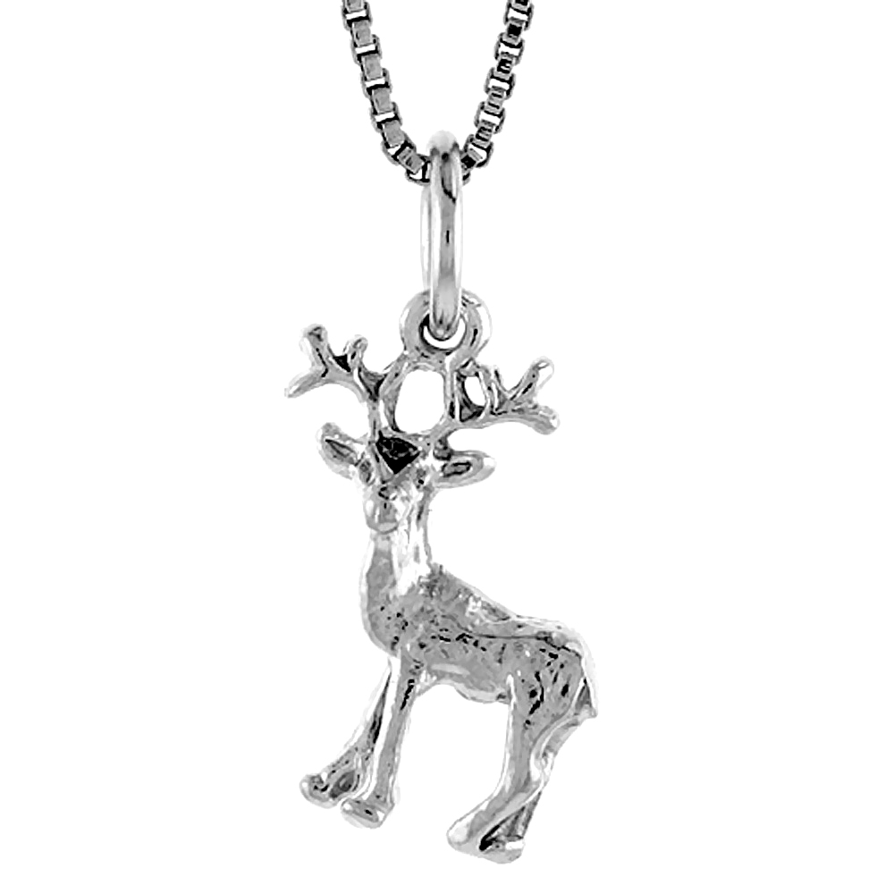 Sterling Silver Deer Pendant, 3/4 inch Tall