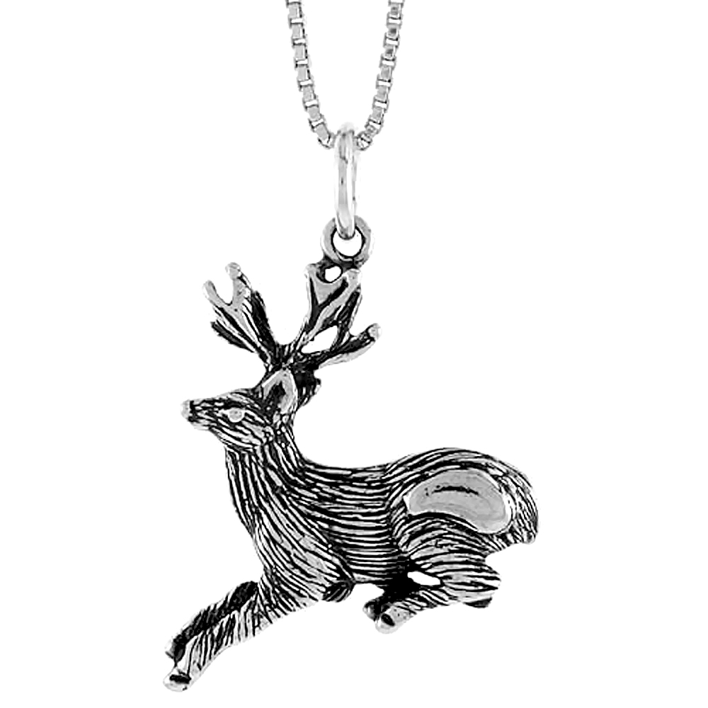 Sterling Silver Deer Pendant, 1 inch Tall