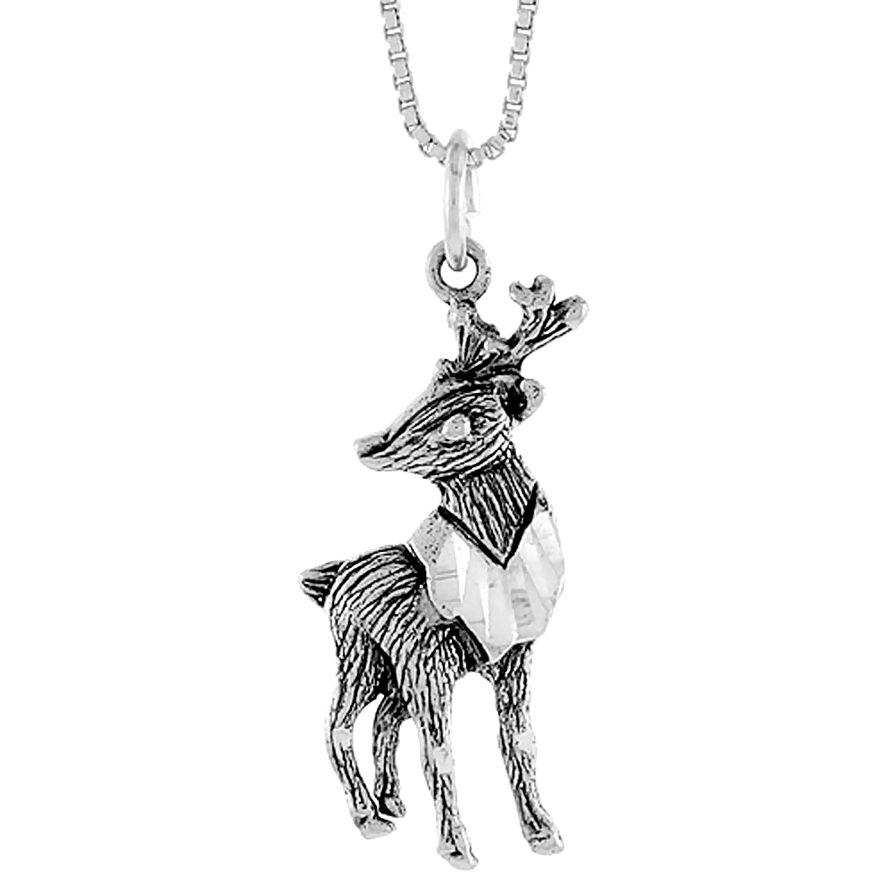 Sterling Silver Deer Pendant, 1 1/4 inch Tall