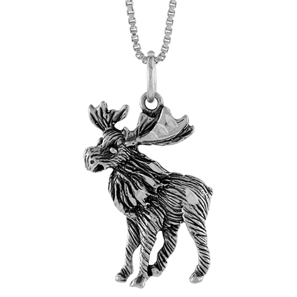 Sterling Silver Moose Pendant, 1 inch Tall