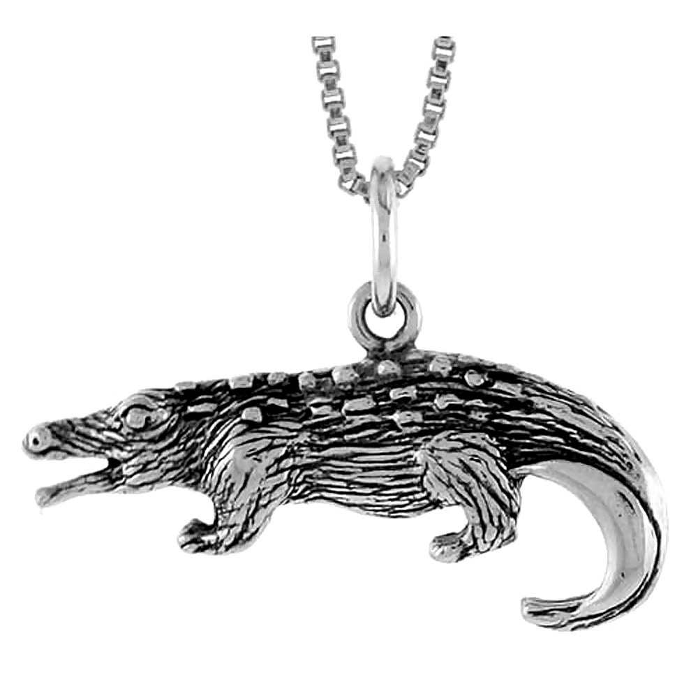 Sterling Silver Crocodile Pendant, 1 1/16 inch in wide