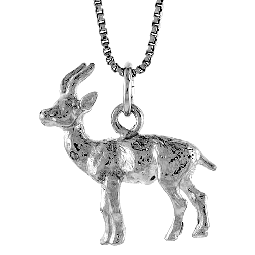 Sterling Silver Deer Pendant, 7/8 inch Tall