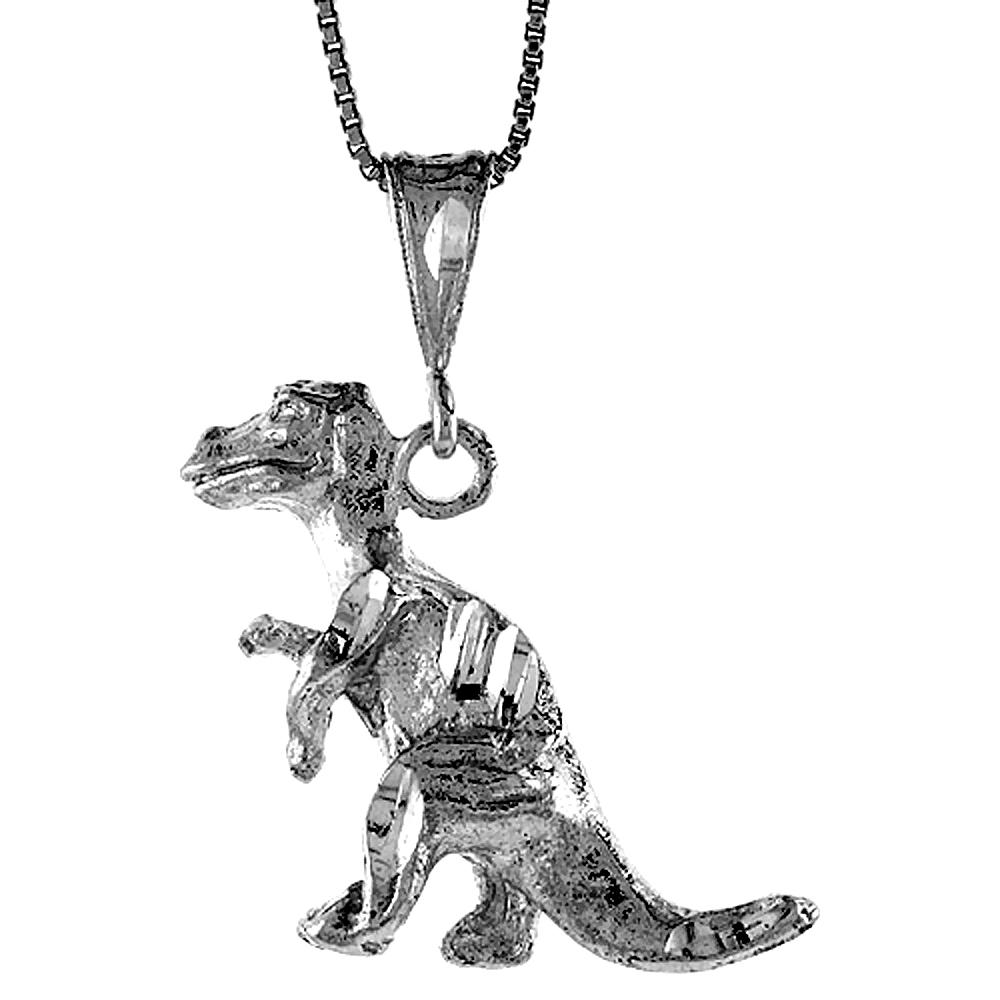 Sterling Silver T Rex Dinosaur Pendant, , 1 1/4 inch tall