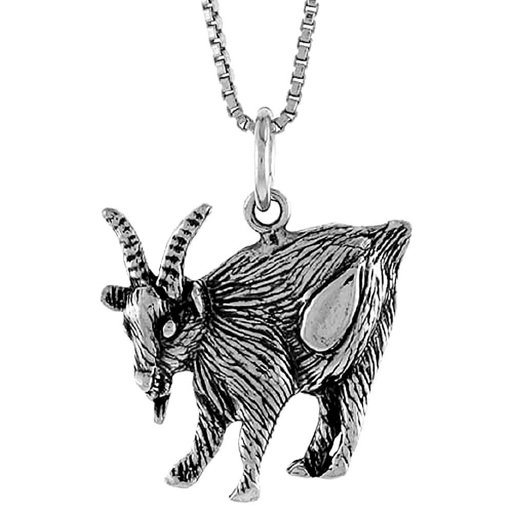 Sterling Silver Goat Pendant, 1 inch tall