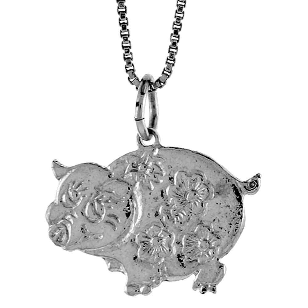 Sterling Silver Pig Pendant, 5/8 inch
