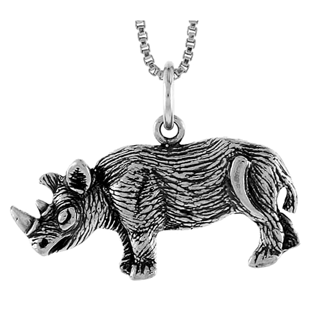 Sterling Silver African Rhino Pendant, 1/2 inch