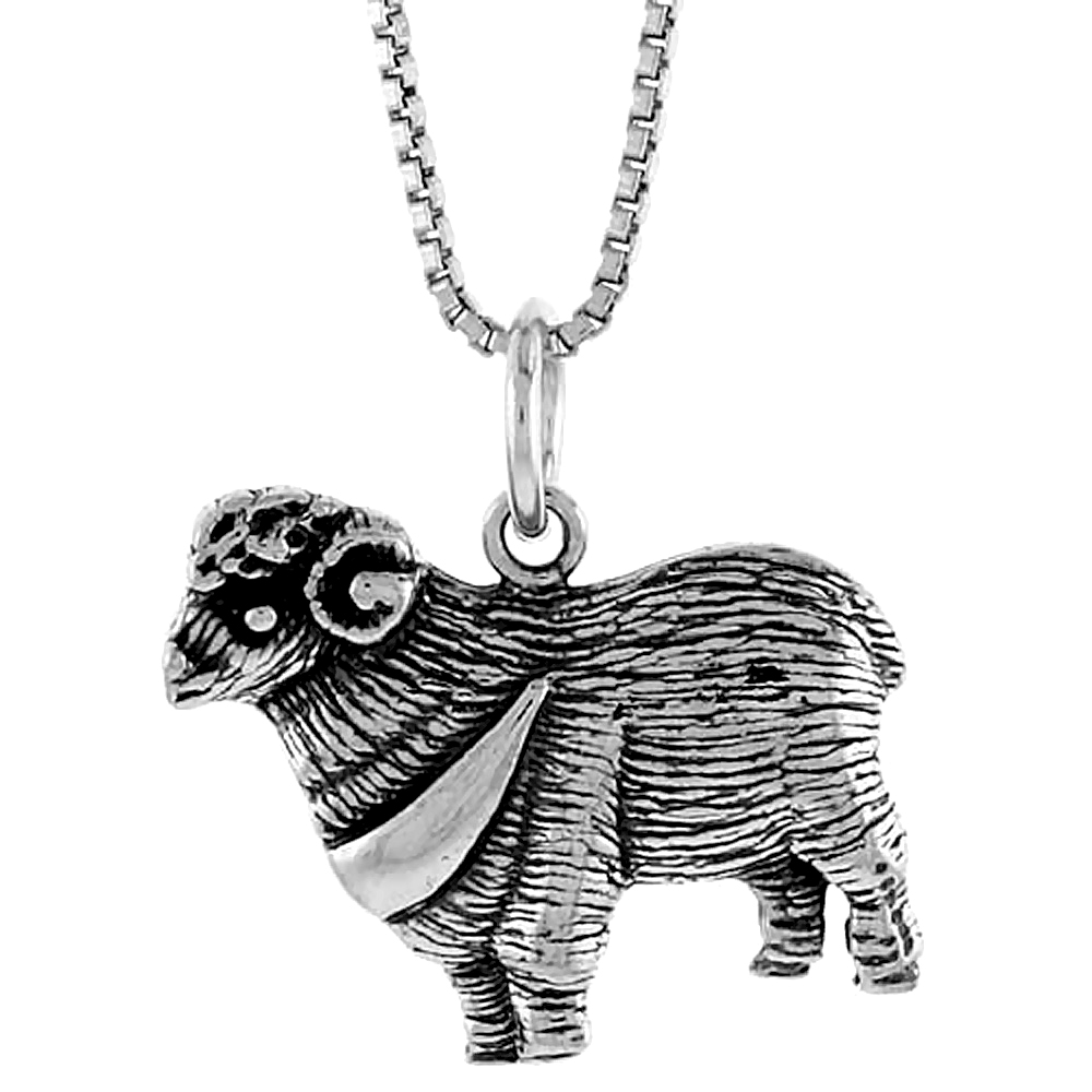 Sterling Silver Sheep Pendant, 5/8 inch