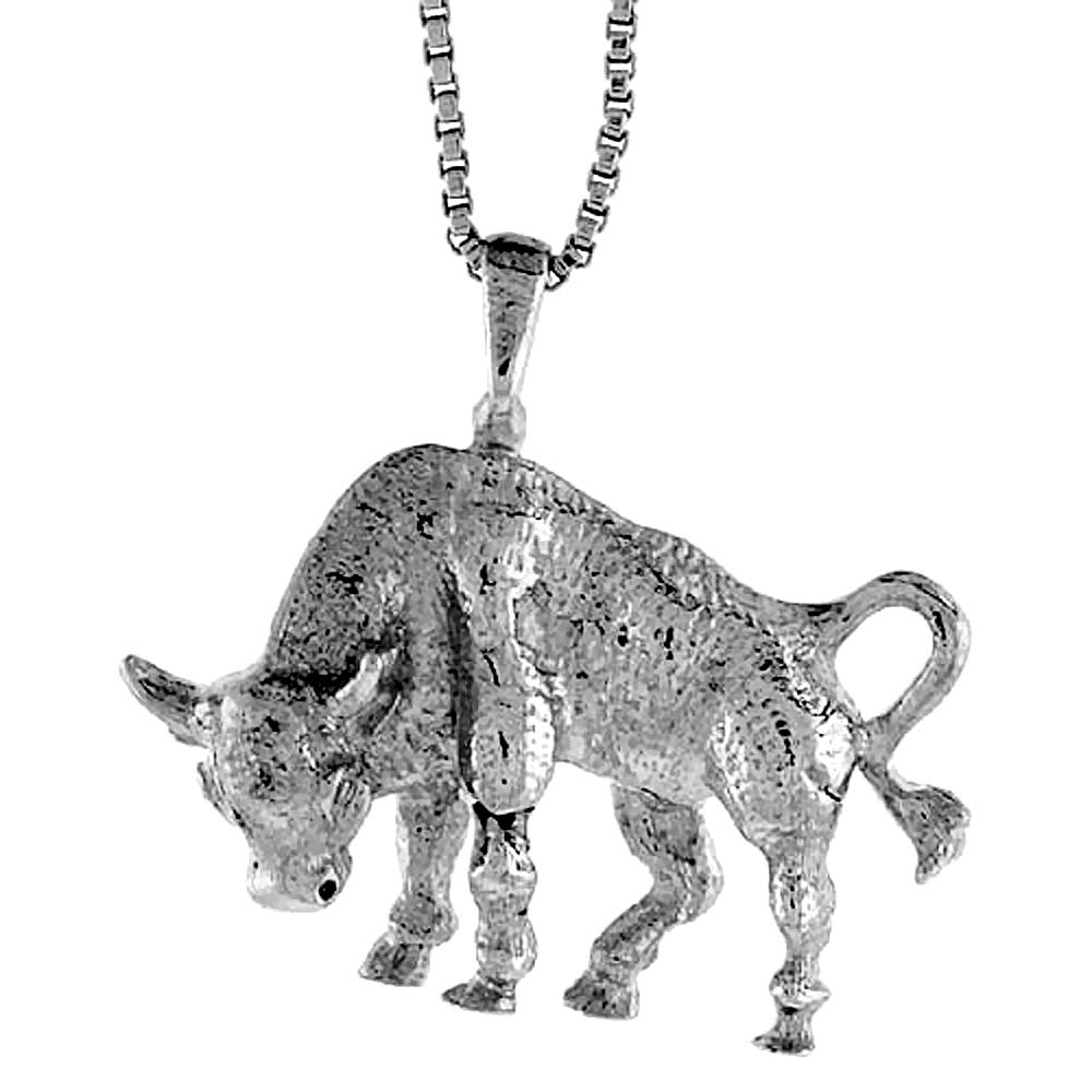 Sterling Silver Bull Pendant, 3/4 inch