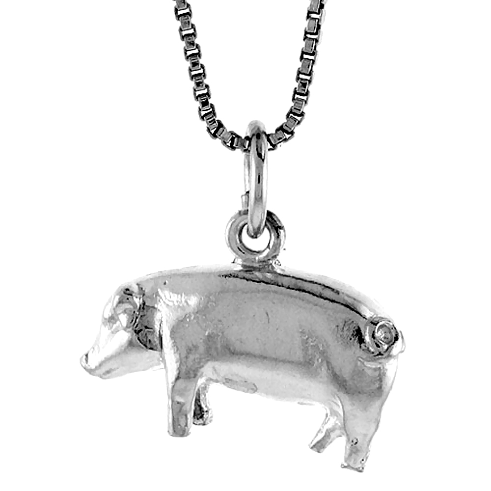 Sterling Silver Pig Pendant, 1/2 inch