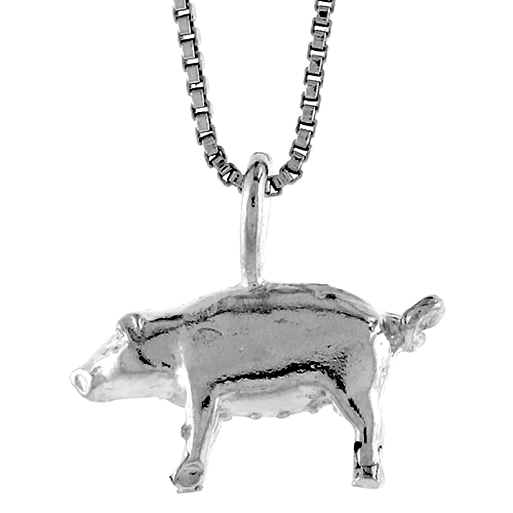 Sterling Silver Pig Pendant, 3/8 inch