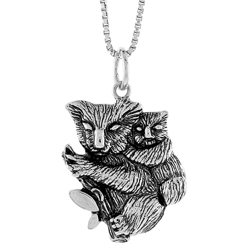 Sterling Silver Koala Bear Pendant, 3/4 inch