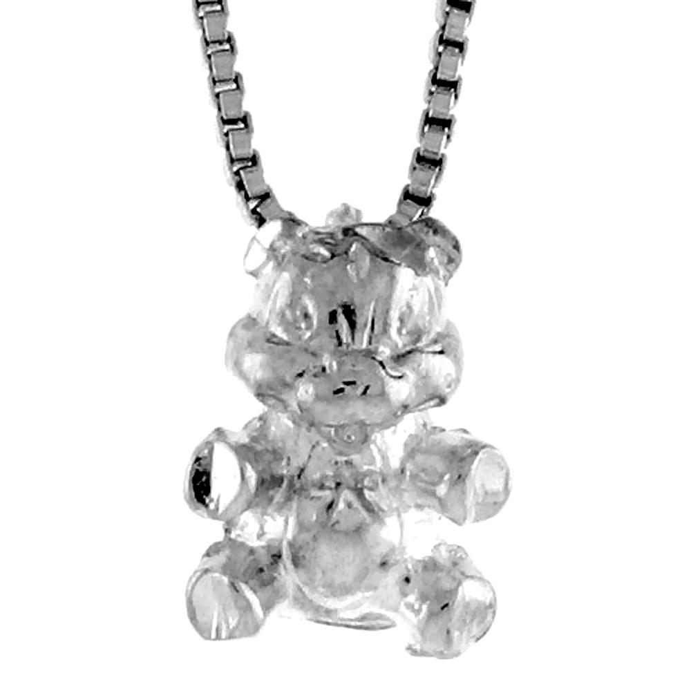 1/2 inch Sterling Silver 1/2 inch Teeny Teddy Bear Pendant,