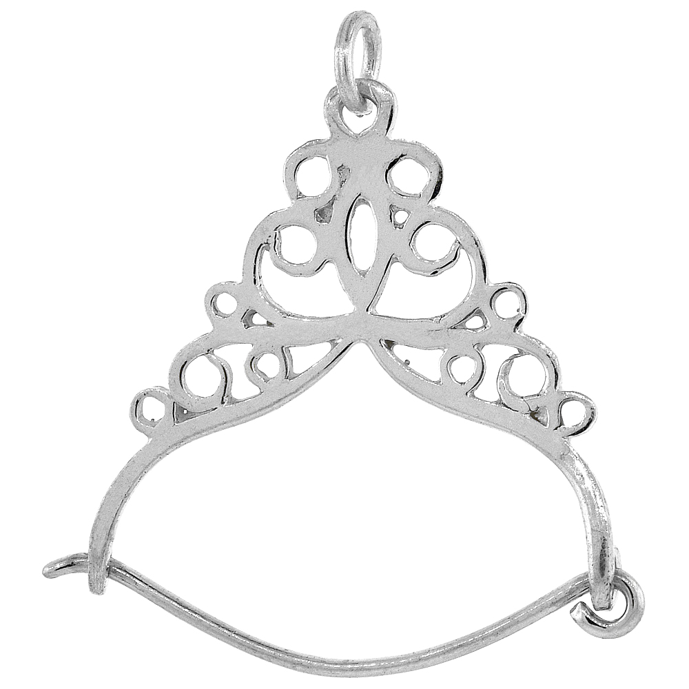 Sterling Silver Large Charm Holder Pendant, 1 1/2 inch Tall