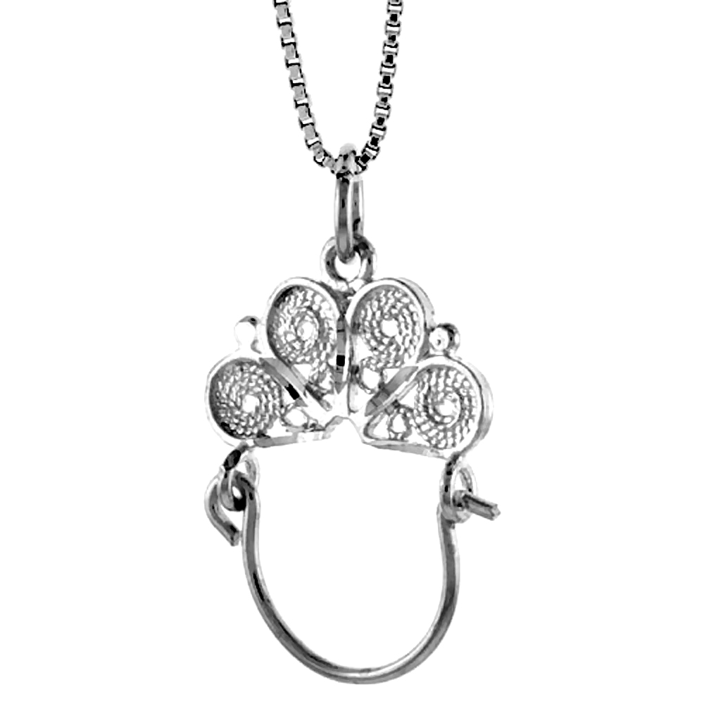 Sterling Silver Charm Holder Pendant, 1 1/16 inch Tall