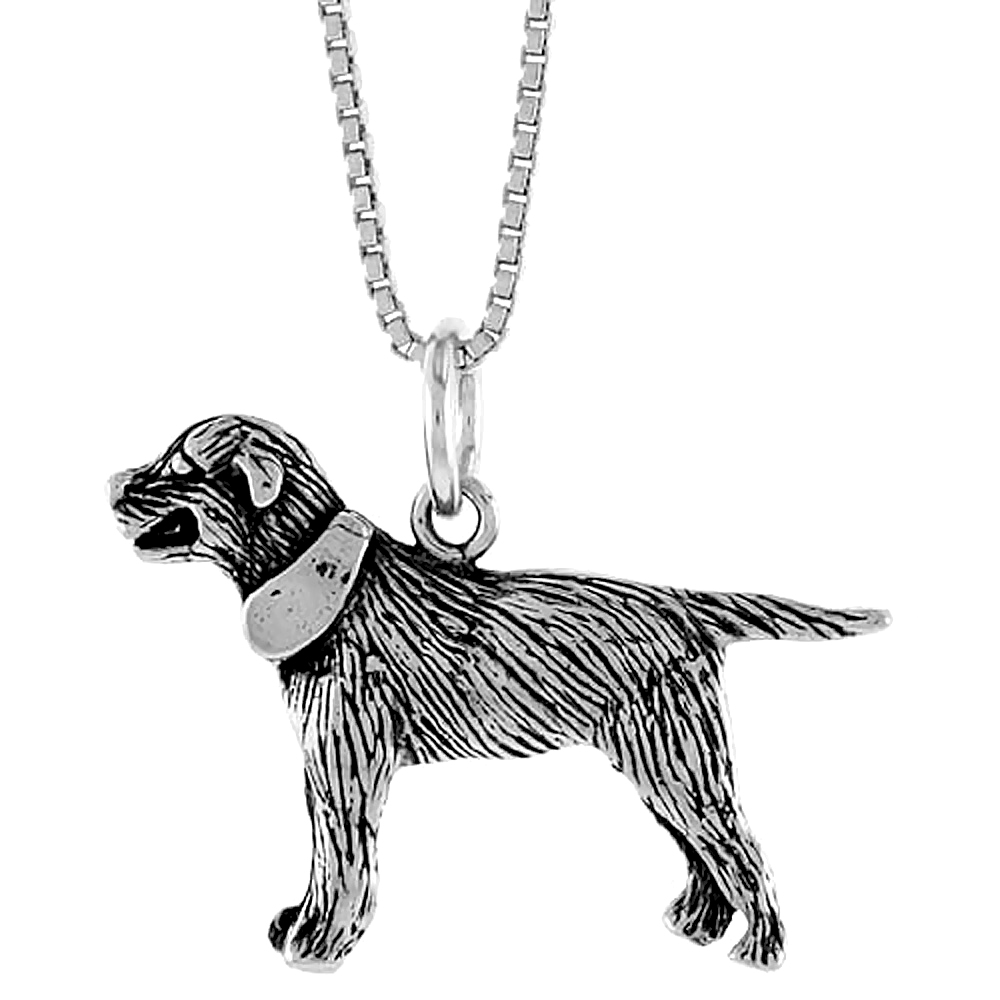 Sterling Silver Labrador Retriever Pendant, 3/4 inch Tall