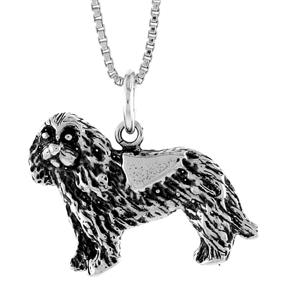 Sterling Silver Dog Pendant, 3/4 inch Tall