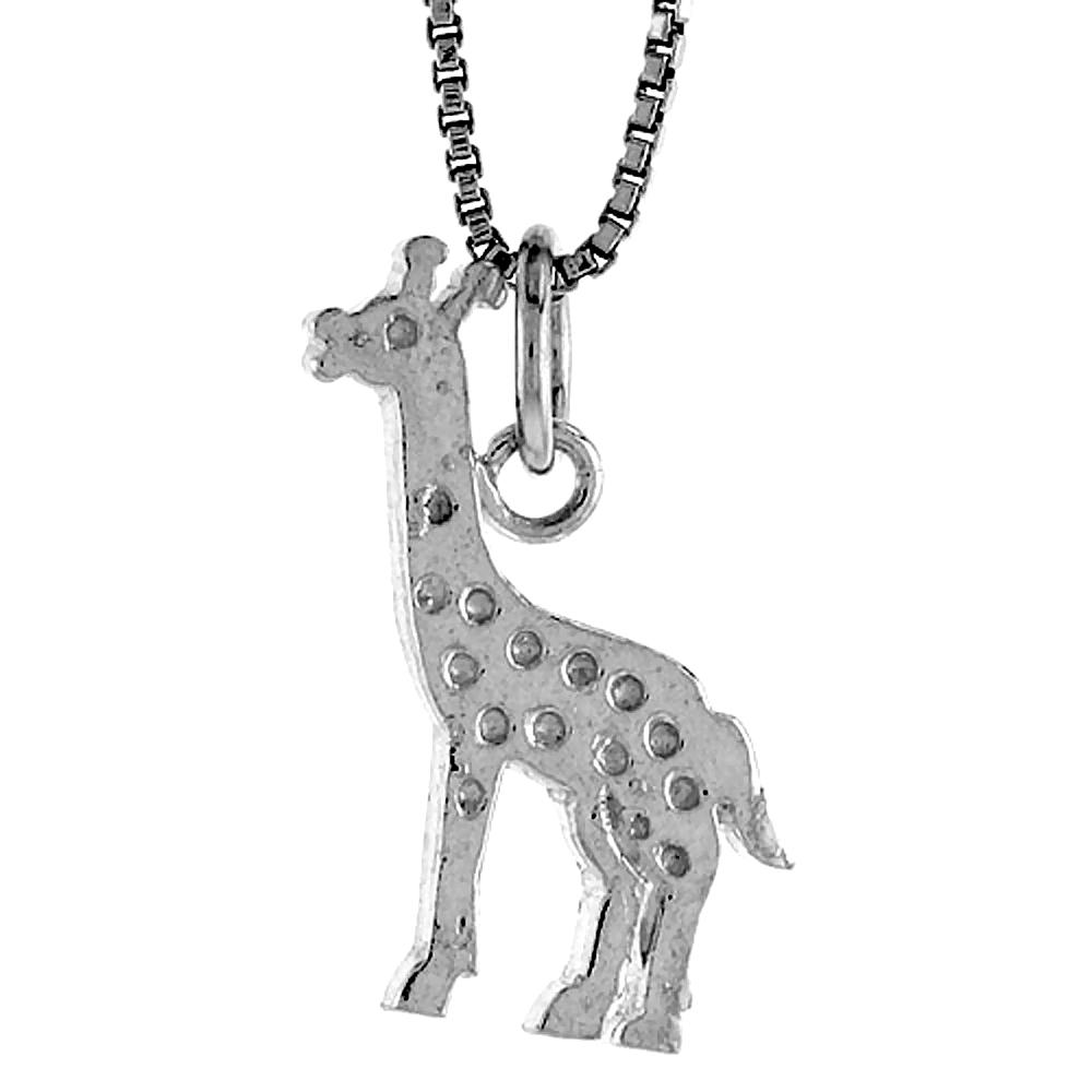 Sterling Silver Giraffe Pendant, 3/4 inch Tall